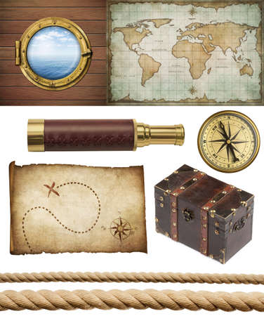 nautical objects set isolated: ship window or porthole, old treasure map, spyglass, brass compass, pirates chest and ropes photo