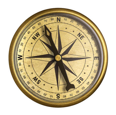 nautical equipment: simple old brass nautical compass isolated on white