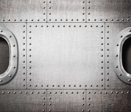 aboard: ship window or submarine aboard steam punk metal background Stock Photo