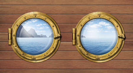 navy ship: two ship windows or portholes with sea or ocean with tropical island. Travel and andventure concept. Stock Photo