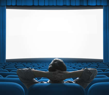 Exclusive movie preview on big screen. Blue VIP cinema auditorium. Art house concept. Фото со стока - 26861761