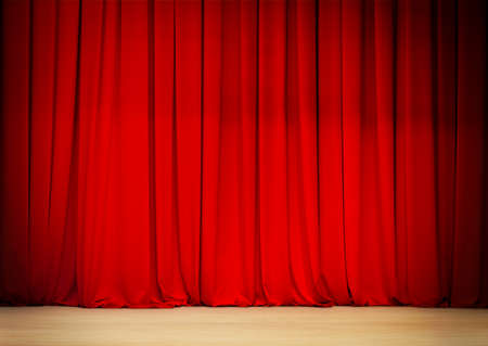red curtain of theatre stage photo