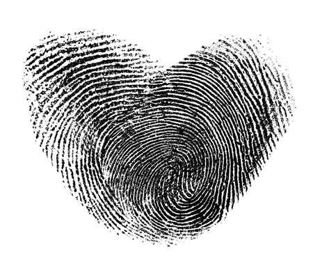 fingerprint heart isolated on white photo