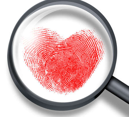 larceny: red fingerprint in heart shape through magnifying glass
