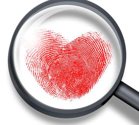 forbidden love: red fingerprint in heart shape through magnifying glass