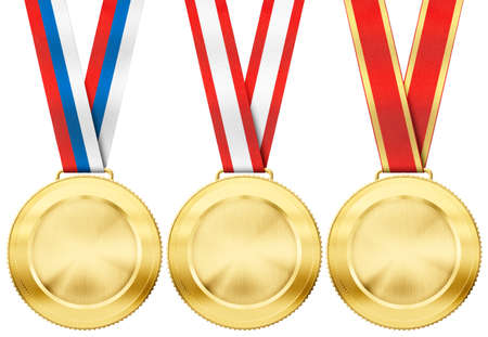gold medal set with various ribbon type isolated on white photo