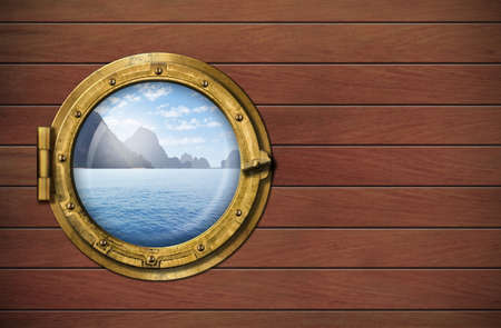 ship window with sea or ocean with tropical island photo