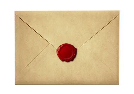 sealed: mail envelope or letter sealed with wax seal stamp isolated on white