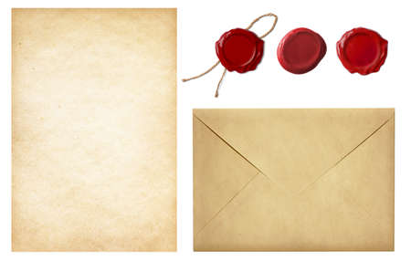 vintage postal set: old mail envelope, blank letter paper and red wax seal stamps isolated on white