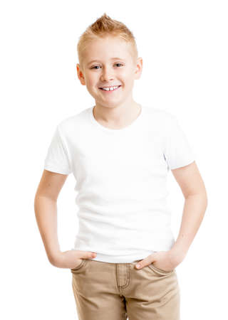 blank template: handsome kid model in white tshirt standing front view isolated