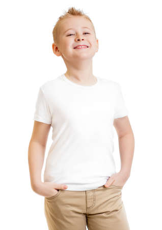 model kid in t-shirt or tshirt isolated on white photo