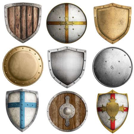 rycerz: średniowieczny zbiór tarcze samodzielnie na białym tle Zdjęcie Seryjne