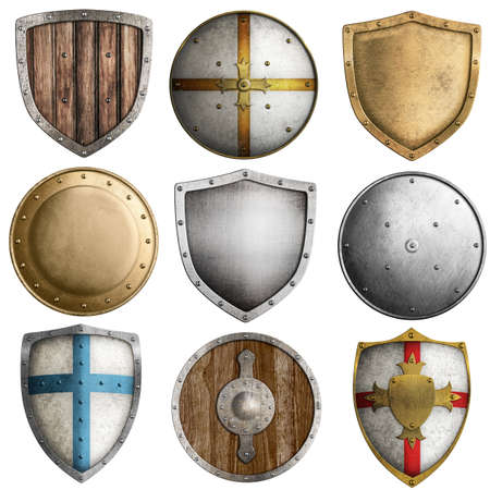 metal shield: medieval shields collection isolated on white Stock Photo