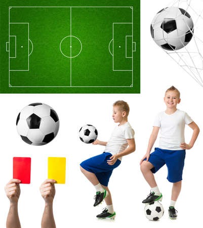 Soccer or football set including ball, player, field photo