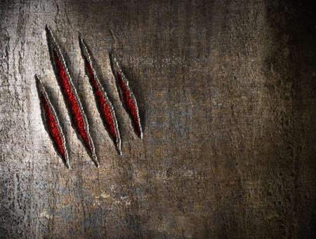 garra: garra ara�azos en la pared de fondo wetal Foto de archivo