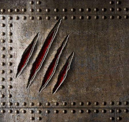 garra: garra ara�azos en la pared de fondo de metal la armadura