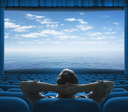 sea or ocean on cinema screen Stock Photo