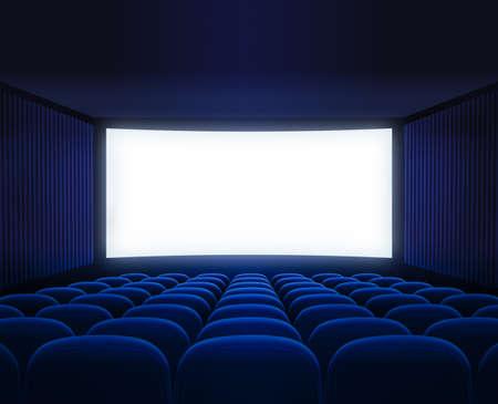 blue cinema empty hall with blank screen for movie presentation photo