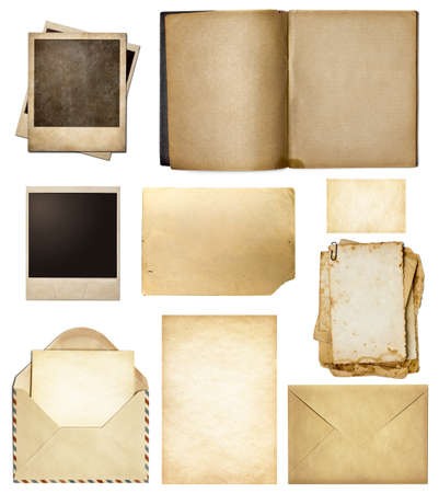 polaroid frame: Old mail, paper, book, polaroid frames, stamp isolated collection