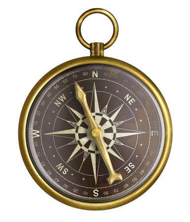 old compass: golden or brass old nautical compass illustration