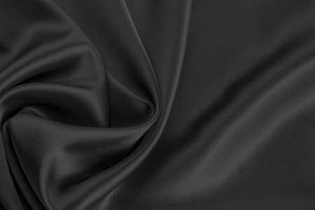 black satin: fondo negro de raso o seda Foto de archivo