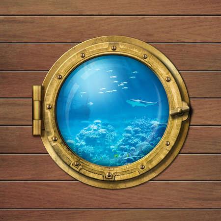 bathyscaphe or submarine porthole underwater