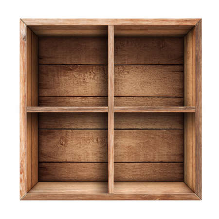 drawers: wooden box, shelf or crate isolated on white