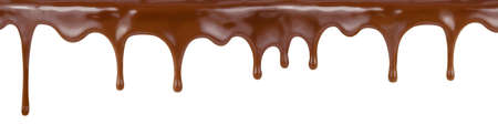 pouring chocolate dripping from cake top isolated on white background photo