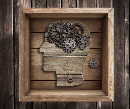 psychical: Brain work, creativity. Thinking outside the box concept.