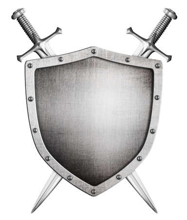 metal medieval shield and crossed swords behind it isolated on white