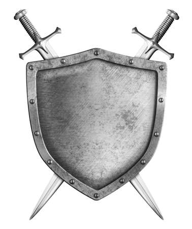 sword fight: medieval shield with two swords isolated on white