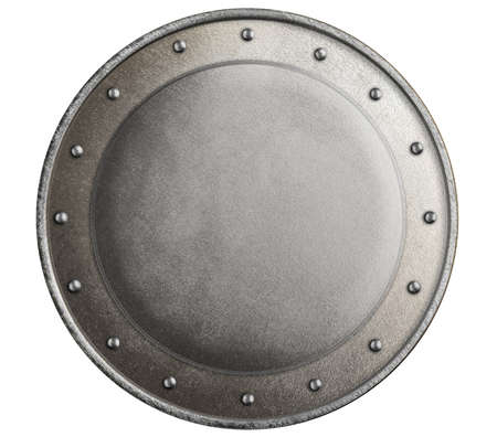 round metal medieval knights shield isolated photo