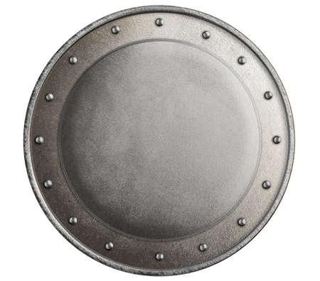 Runden Metall mittelalterlichen Ritterschild isoliert Standard-Bild - 27709916