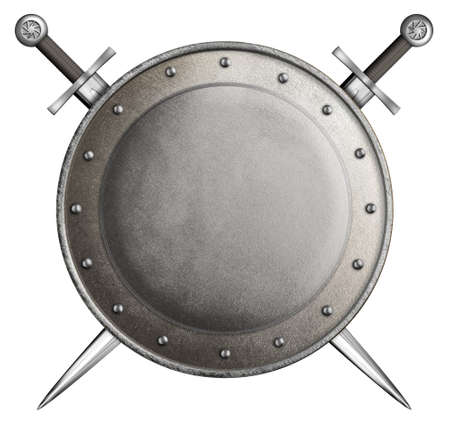 safety circle: medieval round shield with two swords isolated on white