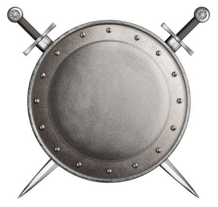 Scudo rotondo medievale con due spade isolato su bianco Archivio Fotografico - 27709925