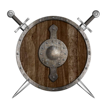 Crossed swords and wooden round shield isolated photo