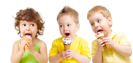 funny kids group with icecream isolated photo