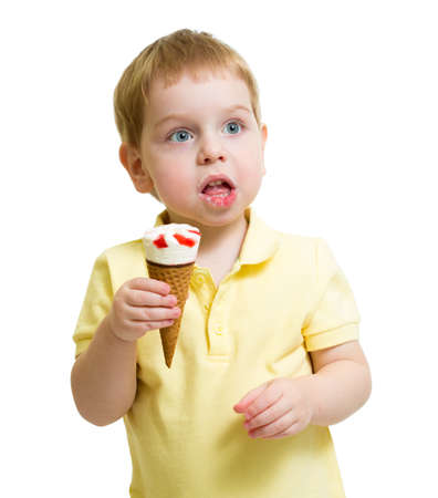 funny kid eating ice cream isolated on white photo