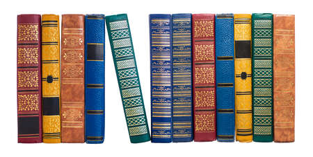 bookshelf or book spines row isolated on white photo