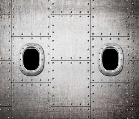 submarino: buque o submarino fondo de la ventana de metal