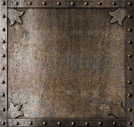 fondo de metal de la puerta medieval