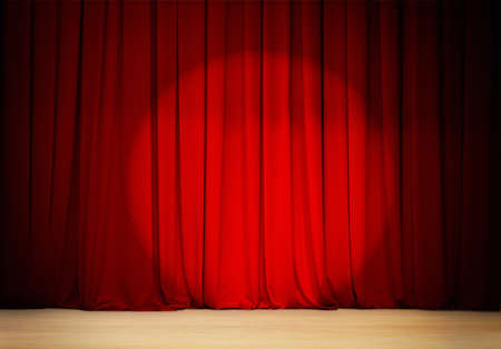 red stage curtain: red curtain with spot light  theater stage