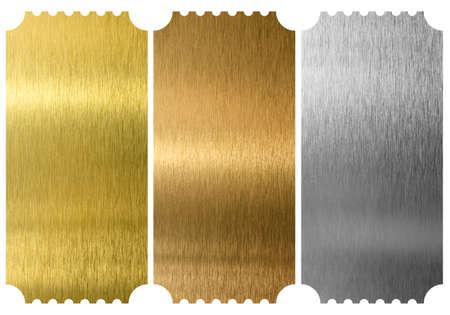 分離されたアルミニウム、青銅および黄銅のチケット