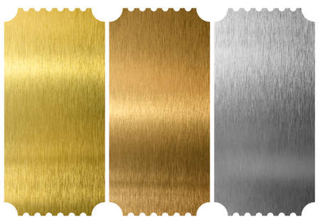 tickets: Aluminum, bronze and brass tickets isolated Stock Photo