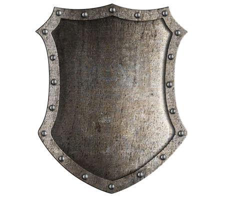 el escudo del caballero medieval aislado en blanco Foto de archivo