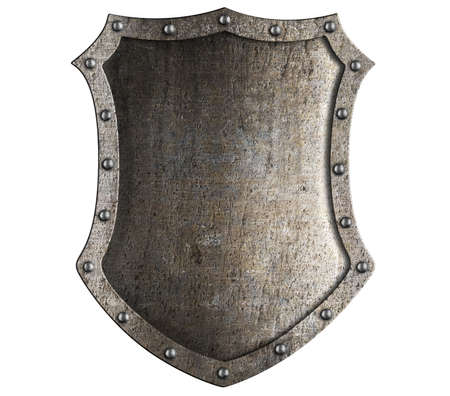 medieval knight shield isolated on white photo