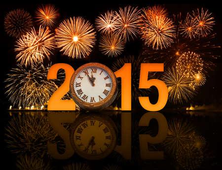 2015 year celebration icon with fireworks photo