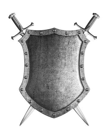 large medieval shield with two crossed swords isolated on white