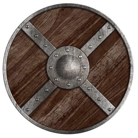 Medieval vikings round wooden shield isolated on white Zdjęcie Seryjne