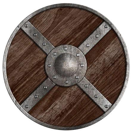 vikingo: Vikingos medievales redondas escudo de madera aislado en blanco